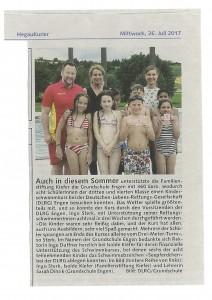 Hegaukurier v.26.07.2017 - Auch in diesem Sommer Unterstützung für Schwimmkurs DLRG